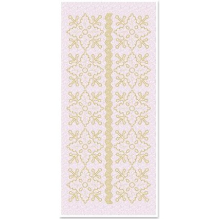 Sticker 1 stickers glitter bloem versieringen, goud glitter wit, maat 10x23cm
