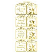 Set sind 6 verschiedenen sticker Motive in gold, 10x23cm.