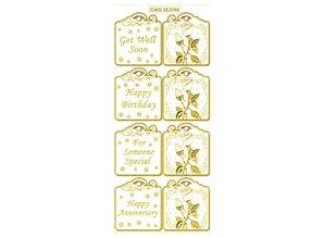 Sticker Sættet indeholder 6 forskellige klistermærkedesign i guld, 10x23cm.