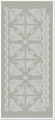 Sticker Stickers, hjørner og kanter, sølvgrå, størrelse 10x23cm