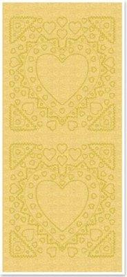 Sticker Klistermærker, mor-of-frame, hjerte form, guld perle og guld, størrelse 10x23cm