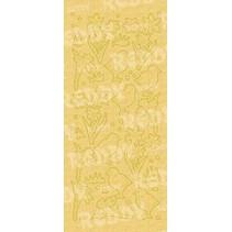 Pegatinas, Pascua y polluelos de campana, el oro de la perla y oro, tamaño 10x23cm