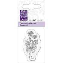 Clear stamps motiv, lille nisse med Kornblomst, 5x6cm.