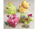Kinder Bastelsets / Kids Craft Kits Animal money boxes, 7-10 cm, cow, dog, frog and turtle, 4 sort.