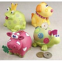 Tier-Spardosen, 7-10 cm, Kuh, Hund, Frosch und Schildkröte, 4 sort.