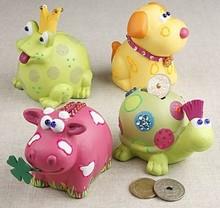 Kinder Bastelsets / Kids Craft Kits Animal sparebøsser, 7-10 cm, ko, hund, frø og skildpadde, 4 slags.