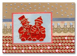 Sticker Glitter Stickers: cute snowmen in silver / gold