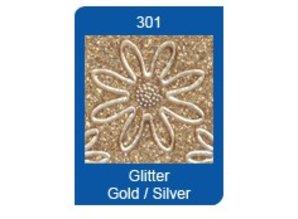 Sticker Glitter Sticker: Transp Glitter / Guld
