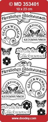 Sticker Ziersticker 'Congratulations' guld / guld