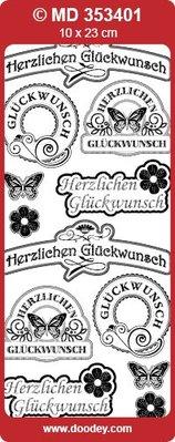 "Sticker Ziersticker, ""Tillykke,"" transp. / Sølv"