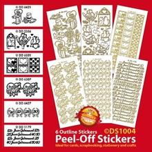Sticker Sæt med 6 dekorative mærkat, guld