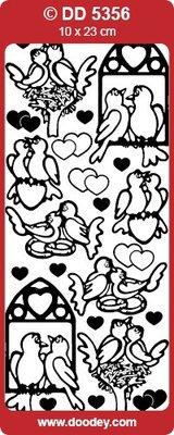 Sticker Ziersticker Lovebirds, gold