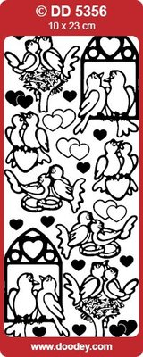 Sticker Ziersticker lovebirds guld