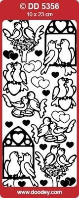 Sticker Ziersticker lovebirds guld