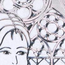"""Ziersticker """"Communion / bekræftelse, pige,"""" Transp. / Sølv"""