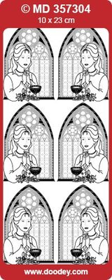 "Sticker Ziersticker, ""Communion / Confirmation, girl,"" Transp. / Gold"