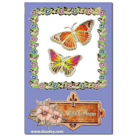 """Sticker Ziersticker, """"Schmetterlinge"""", gold/gold"""