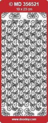 "Sticker Ziersticker ""sommerfugle"", sølv / sølv,"