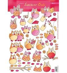 DESIGNER BLÖCKE  / DESIGNER PAPER Eline summer's owls 2, 1 sheet A4