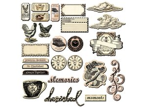 Prima Marketing und Petaloo Great Almanac Chipboard, Prima Marketing, 25 pieces.