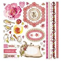 Super tolle BasicGrey Kissing Booth Element Stickers Bordüren Vögel Rose 30,5x30,5 cm