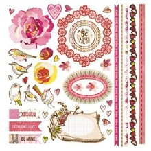 Designer Papier Scrapbooking: 30,5 x 30,5 cm Papier Super great Basic Grey Kissing Booth Element Stickers Rose Borders Birds 30,5 x30, 5 cm