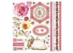 Designer Papier Scrapbooking: 30,5 x 30,5 cm Papier BasiyGrey, super store sticker figurer Kissing Booth, 30,5 x 30,5 cm.
