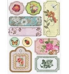 Embellishments / Verzierungen Adesivi truciolare, fiori No.3