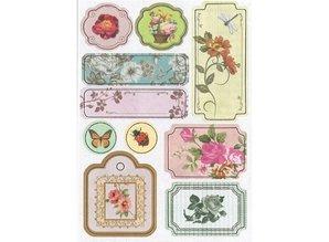Embellishments / Verzierungen Spånplader klistermærker, blomster No.3