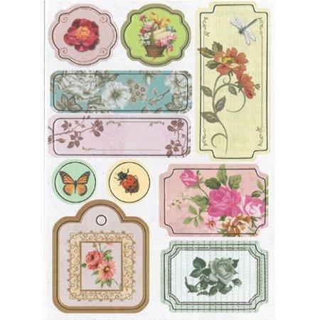 Embellishments / Verzierungen Chipboard Sticker, Blumen Nr.3