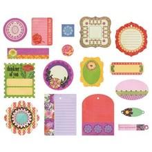 Embellishments / Verzierungen Basic Grey Indie Bloom Die Cut figurer, 17 stykker.
