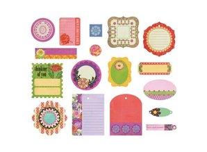 Embellishments / Verzierungen BasicGrey, Die Cut shapes Indie Bloom, 17 Stück.