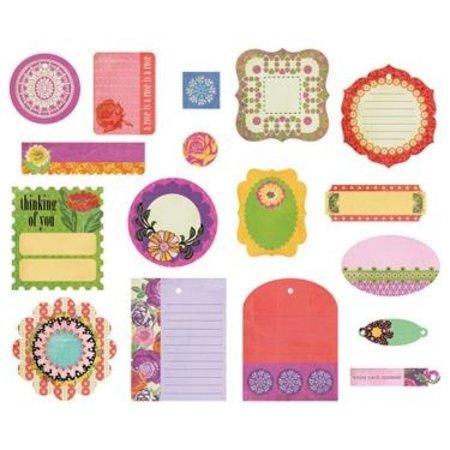 Embellishments / Verzierungen Basic Grey Indie Bloom Die Cut shapes, 17 pieces.
