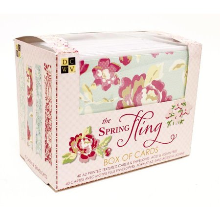 DCWV und Sugar Plum Æske med kort Spring slynge, DCWV kasse af kort Spring Fling 10,8 x14cm, 40 kort og kuverter