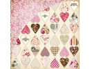 Designer Papier Scrapbooking: 30,5 x 30,5 cm Papier Kissing Booth, triturador del corazón, Kis-3554, 30,5 x 30,5 cm