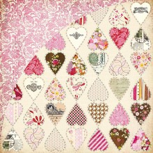 Designer Papier Scrapbooking: 30,5 x 30,5 cm Papier Kissing Booth, Heart Breaker, Kis-3554, 30,5 x 30,5 centimetri