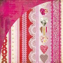 Designer Papier Scrapbooking: 30,5 x 30,5 cm Papier Kissing Booth, Xoxo, Kis-3566, 30,5 x 30,5 centimetri