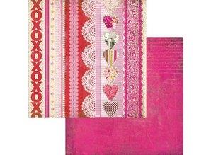 Designer Papier Scrapbooking: 30,5 x 30,5 cm Papier Kissing Booth, xoxo Kis-3566, 30,5 x 30,5 cm