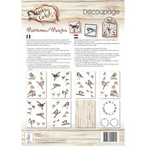 Papel Decoupage, Círculos Hobby, gorriones, 8 Blat A4