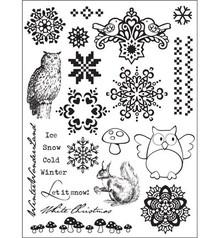 "Stempel / Stamp: Transparent Clear stamps, Eline's Huis design, ""winter various designs,"" Let it snow."