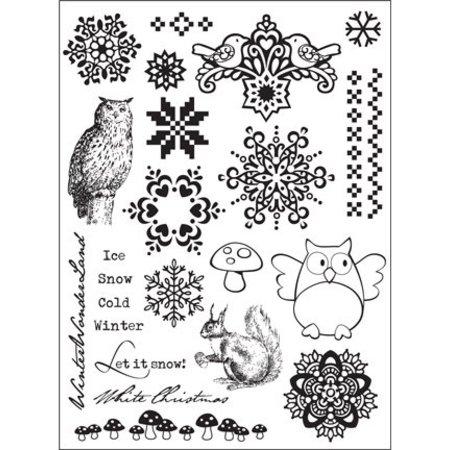 """Stempel / Stamp: Transparent Klare frimærker, Elines Huis design, """"diverse motiver vinter"""""""
