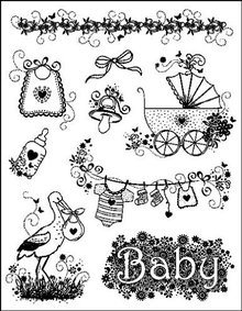"Viva Dekor und My paperworld Clear stamps ""Baby designs"" MyPaperWorld silikone tempel fødsel"