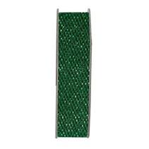 Ribbon, glitter satin, grøn, 3 meter.