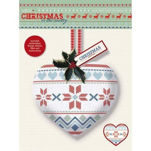 kreuzstich herz dekoration kit weihnachten im land. Black Bedroom Furniture Sets. Home Design Ideas