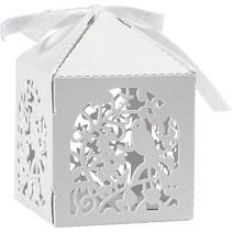Dekorative Schachtel, 5,3x5,3 cm, weiß, Vogel, 12 Stck.