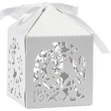 Dekoration Schachtel Gestalten / Boxe ... Dekorative Schachtel, 5,3x5,3 cm, weiß, Vogel, 12 Stck.