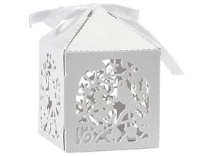 Dekoration Schachtel Gestalten / Boxe ... Decorative box, 5,3x5,3 cm, white, bird, 12 pcs.
