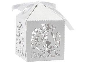 Dekoration Schachtel Gestalten / Boxe ... Dekorative kasse, 5,3x5,3 cm, hvid, fugl, 12 stk.