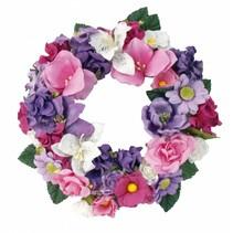 Papieren bloemen assortiment, roze, paars, wit