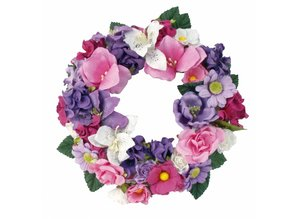 Embellishments / Verzierungen Paper flowers assortment, pink, purple, white